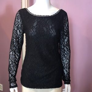 White House Black Market Long-Sleeve Lace Knit Top
